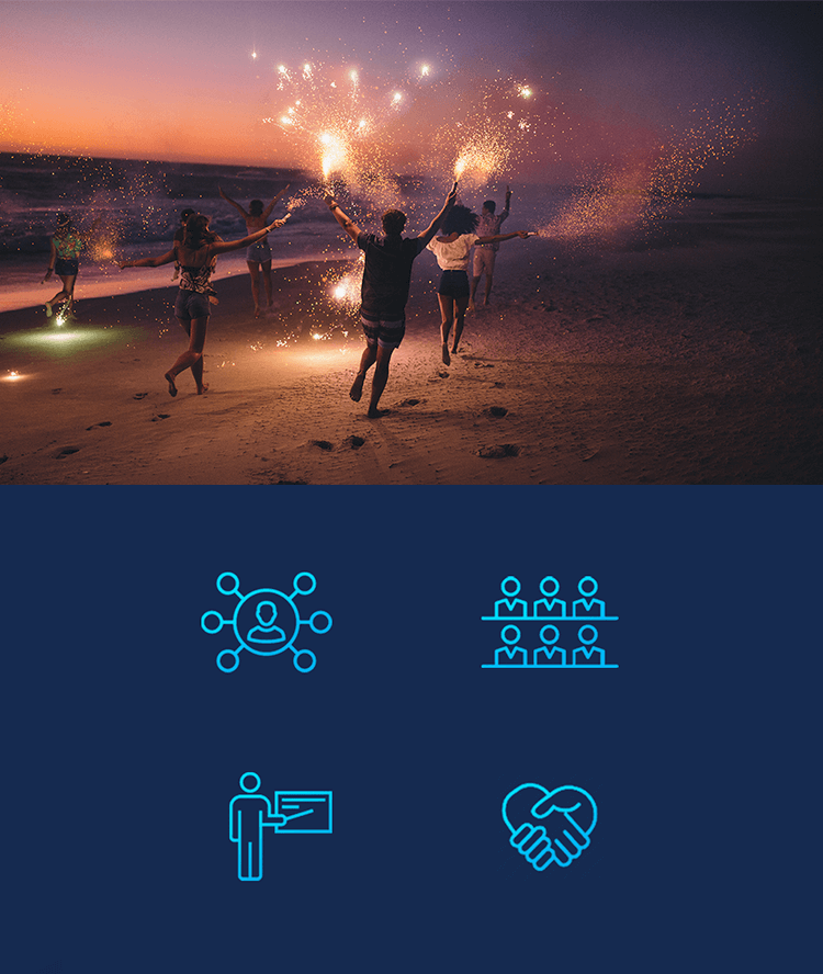 IDC אייקונים ותמונת אנשים רצים בחול עם זיקוקים