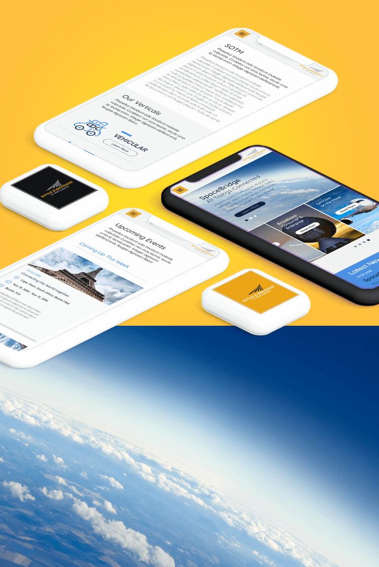 spacebridge הדמיית מובייל על רקע צהוב ועם תמונת עננים